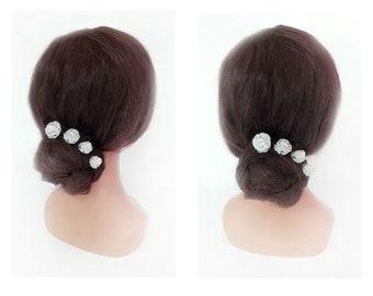 bun silver fascinator, hair pin, quilted Hat wedding bridal hair bead