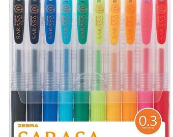 Zebra SARASA CLIP 0.3mm Extra Fine GEL Ink Rollerball Ballpoint Pens Set -  10 Colors Pens