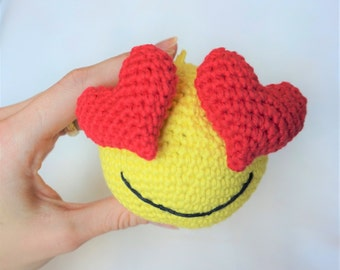 "Crochet Emoji ""Love is in the air"". Bag tag, key chain."