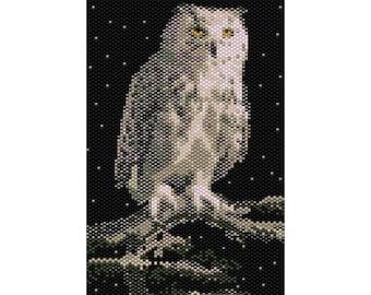 Snowy Owl Tapestry Peyote Bead Pattern, Seed Beading Pattern Miyuki Delica Size 11 Beads - PDF Instant Download