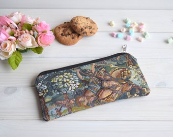 Pencil Pouch, Cosmetic pouch, Make Up Pouch, Charger bag, Project bag, Bridesmaid gift, Bridal purse,  Zipper pencil case,  tapestry pouch