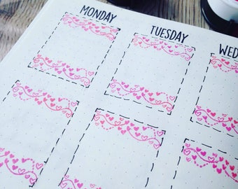 Plantastic Boxes - Stamps that fit perfectly in your planner boxes! (Swirl Hearts) PRE-ORDER