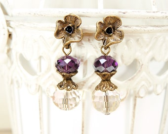 Brass flower earrings stud Crystal earrings stud Wedding Earrings