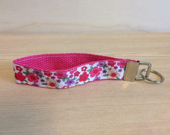 White with pink flowers key ring wristlet - pink flowers key fob wristlet - key ring - flower key fob