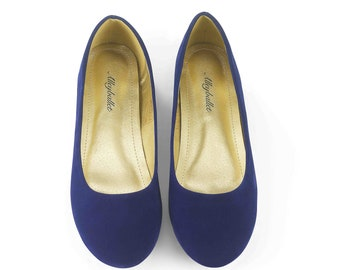 Blue Velvet Hidden Wedge Ballerina Ballet Flat Shoes Secret Heel Lift UK