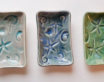 nautical Soap Dish: tide pool decor aqua, rustic blue, or green hm pottery day at the beach dreams