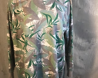 long sleeve sweater pullover jumper green gray grey white jungle leaves leaf