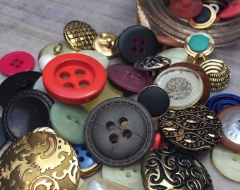 Vintage Buttons in a jar - assortment of buttons from the former East Germany dating to the 1950s-60s