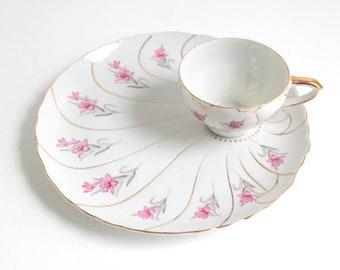 Vintage Snack Set, Teacup & Snack Plate, Teacup and Plate Set, Pink and White Snack Plate, Floral Snack Plate Set, Tea and Cake, Tea Time