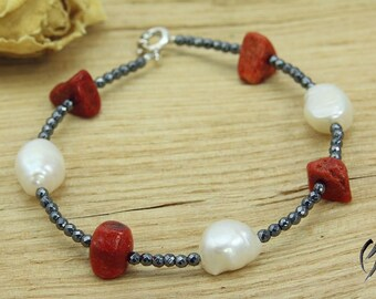 Bracelet of Hematite with freshwater pearls and coral