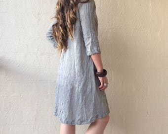 100% Linen Grey Tunic Dress / Boho / Minimalist / Grunge / Gypsy