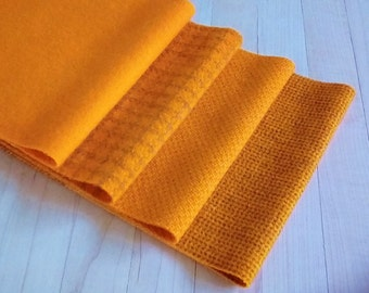 """Hand Dyed Felted Wool, GOLDFISH, Four 6.5"""" x 16"""" pieces in Bright Yellow-Orange, Perfect for Rug Hooking, Applique', and Crafts"""