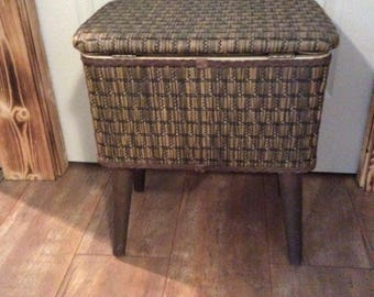 Vintage  Burlington Woven Sewing Box Chest/ Storage  Basket
