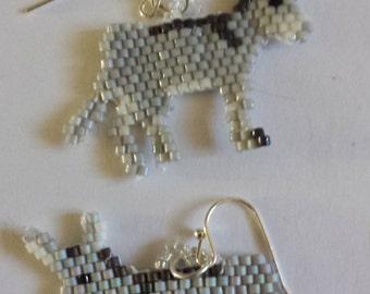 Hand Beaded Christmas Donkey Earrings