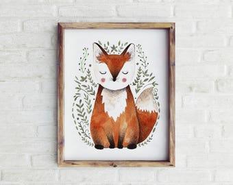 Printable Fox Print, Fox Printable, Fox Nursery Decor, Woodland Nursery Decor, Woodland Nursery Art, Nursery Wall Art, Boy Nursery Decor
