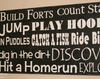 Childrens Signs, Playroom Subway Art, Nursery Subway Art, Distressed Wall Decor, Custom Wood Sign, Typography Word Art - Build Forts