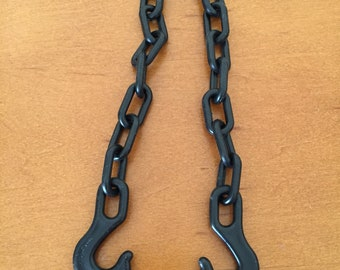Vintage Fisher-Price Little People Offshore Cargo Base Black Chain with Hooks for Crane
