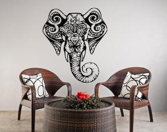 Elephant Wall Decals ganesh  Vinyl Decal Decorated Indian Elephant Head Animals Nursery Baby Room bed living mundir Home Vinyl Decal AS @ 29