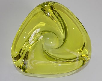 Vintage Val St Lambert Yellow Glass Bowl