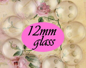 12mm Glass Domes -  12mm Craft Glass Domes - 12mm Glass  - 12mm Glass for Earrings and Rings. High Quality. Select qty from dropdown.