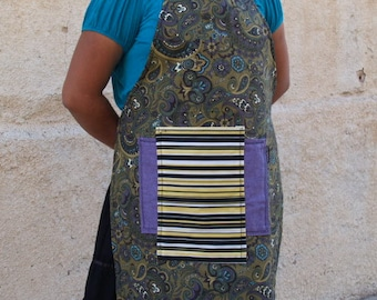 Woman's full apron, yellow, purple, paisley, heavy canvas in complementary colors, bib apron fits medium to plus size