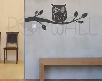 Owl wall decal ,Branch Wall decals wall sticker vinyl art, wall design - 047