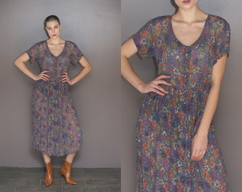 90s Vintage Sheer Babydoll Maxi Dress Oversized Floral  Dress // Contempo Casuals Grunge Button Up Pleated Dress