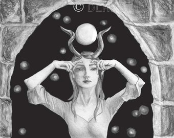 SALE Isis Art Egyptian Art Print Goddess Art Fantasy Gothic Art 8x10