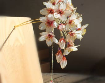 Chinese style Hair stick,wood hair stick,flower hair stick,cherry blossom,gift for her,gift for women