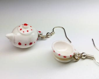 Tea and coffee teapot cup vintage earrings