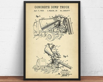 Dump truck blueprint etsy concrete dump truck construction patent prints cement truck blueprint art builder civil engineer architect gifts office wall decor malvernweather Gallery