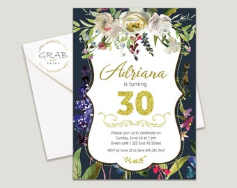 30th Birthday Invitation for Woman, Floral Birthday Invite, 30th Birthday Invite Gold glitter, Milestone 40th 50th, Garden Party Invitations