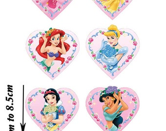 6 Disney Princess Heart cake topper edible wafer paper image PINK