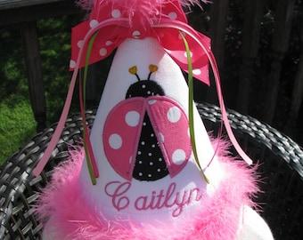 ladybug birthday hat,smash cake hat, pink ladybug, party hat