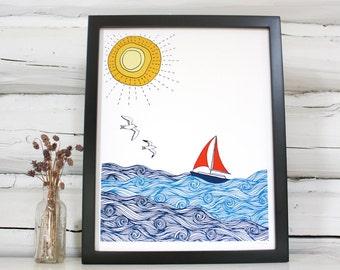 Sailboat print. Nautical decor.