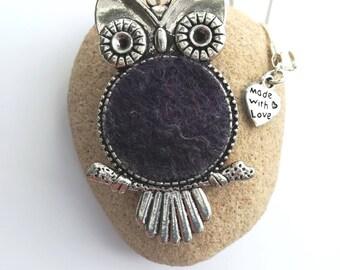 Handmade Owl Felt Pendant Necklace