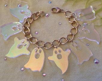 Radiant Ghost Charm Bracelet, Laser Cut Acrylic, Plastic Jewelry