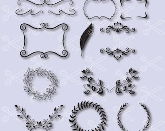 Flourish Svg, PNG, DXF, Eps Cutting Files, Swirl SVG, border clipart, border svg, Swirls Svg, Doodles Svg, Design Element, Borders Svg