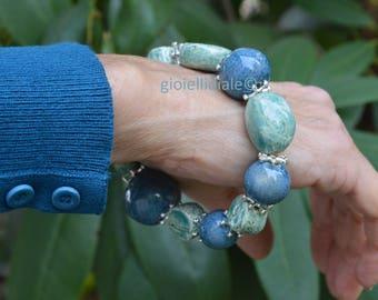 Ceramic bracelet, bead bracelet, blue bracelet, aqua green bracelet, ceramic beads, elastic bracelet, Mother's day, ceramic jewelry