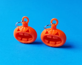 Halloween Angry Pumpkin Earrings with Gold Plated Hooks, 3D Printed