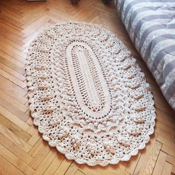 Crochet Oval Dolly Rug Round Cotton Rug 5940 In. Area Rug