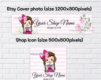 no418 - Girl banner, shop branding, girl hair bow accessories business, business shop banner, cover image, shop icon,  flower shop icon