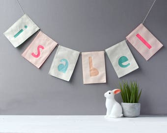 Personalised large Bunting, Your Name Your Words in bunting, felt bunting, letter bunting, rectangle bunting, nursery decor, wedding decor