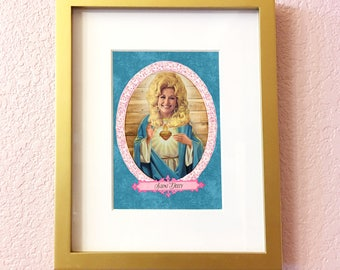 Saint Dolly Parton Print // 5x7 Original Collage Art