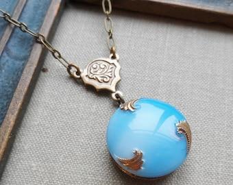 Vintage German Glass Button Necklace, Sky Blue, Turquoise Blue