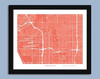 Inglewood map, Inglewood city map art, Inglewood wall art poster, Inglewood decorative map