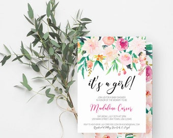 It's a Girl Baby Shower Invitation, Boho Baby Shower, Girl Baby Shower Invite, Pink Flowers, Watercolor Floral in Pink, Green, 869