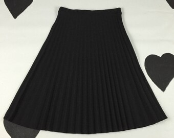 70's classic black pleated skirt 1970's sexy secretary mid length accordion pleat skirt / polyester / office /  below knee length / L XL 12