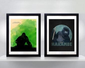 Harambe Poster Set, Harambe Dorm Art, Harambe Dorm Decor, Harambe Poster, Funny Dorm, Funny College, Hipster Art, Hipster Print