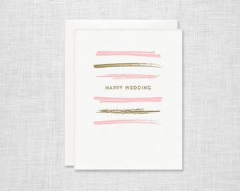 Happy Wedding Brush Stripe Letterpress Card